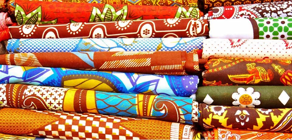 WAZAWAZI fabrics; array of colored prints